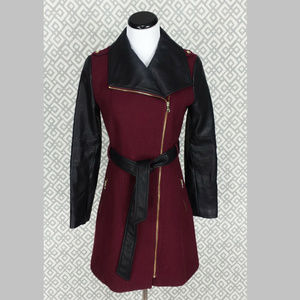 Guess Faux Leather Jacket Wool Blend Peacoat Coat